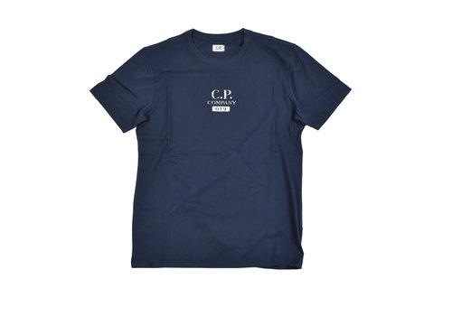 C.P. Company C.P. Company jersey 30/1 button print crew t-shirt Navy