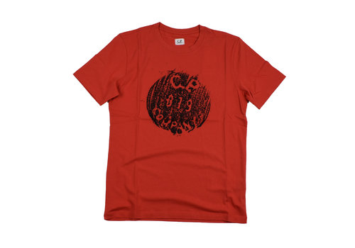 C.P. Company C.P. Company jersey 30/1 button print crew t-shirt Red