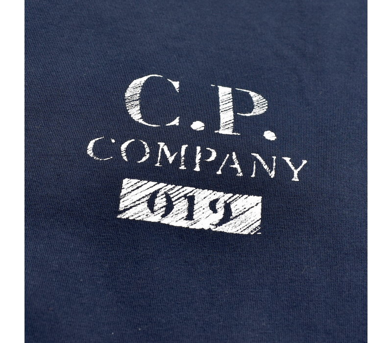 C.P. Company jersey 30/1 button print crew t-shirt Navy