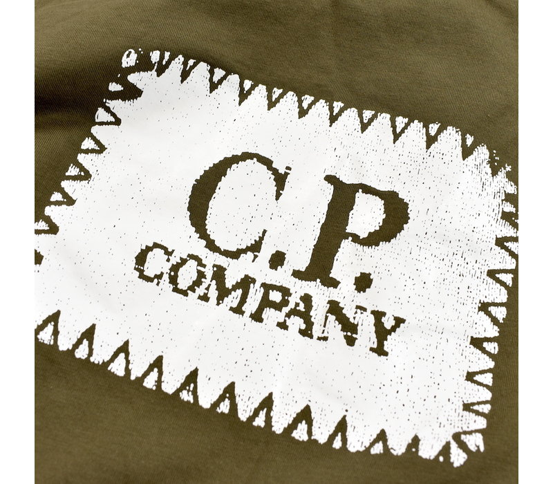 C.P. Company jersey 30/1 label print crew t-shirt Green