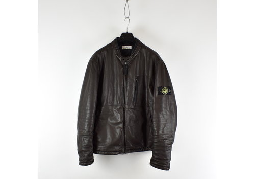 Stone Island Stone Island brown waxed soft leather with primaloft biker jacket XXXL