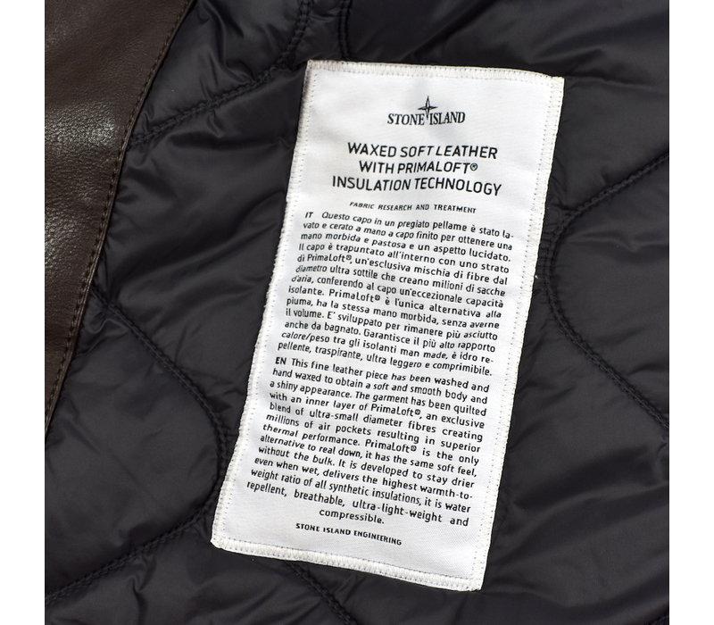 Stone Island brown waxed soft leather with primaloft biker jacket XXXL