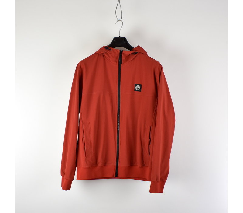 Stone Island red light soft shell-r hooded jacket XXL
