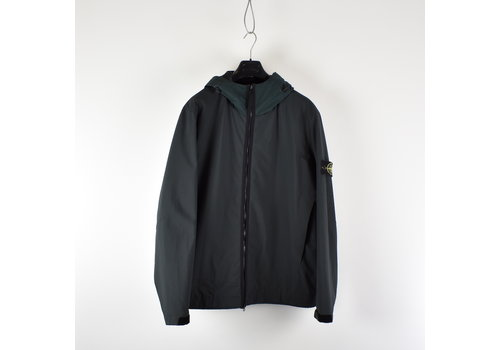 Stone Island Stone Island dark green soft shell-r with primaloft hooded jacket XXXL