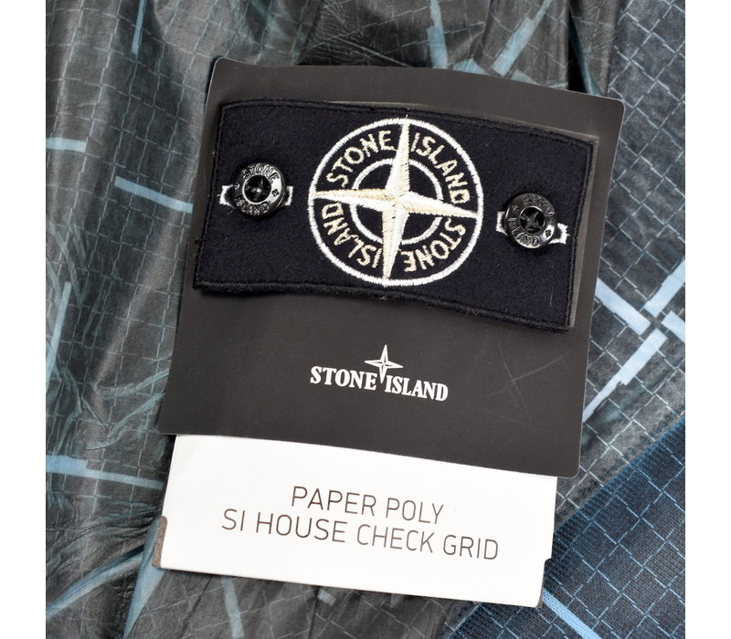 Stone Island paper poly with si house check grid long jacket L