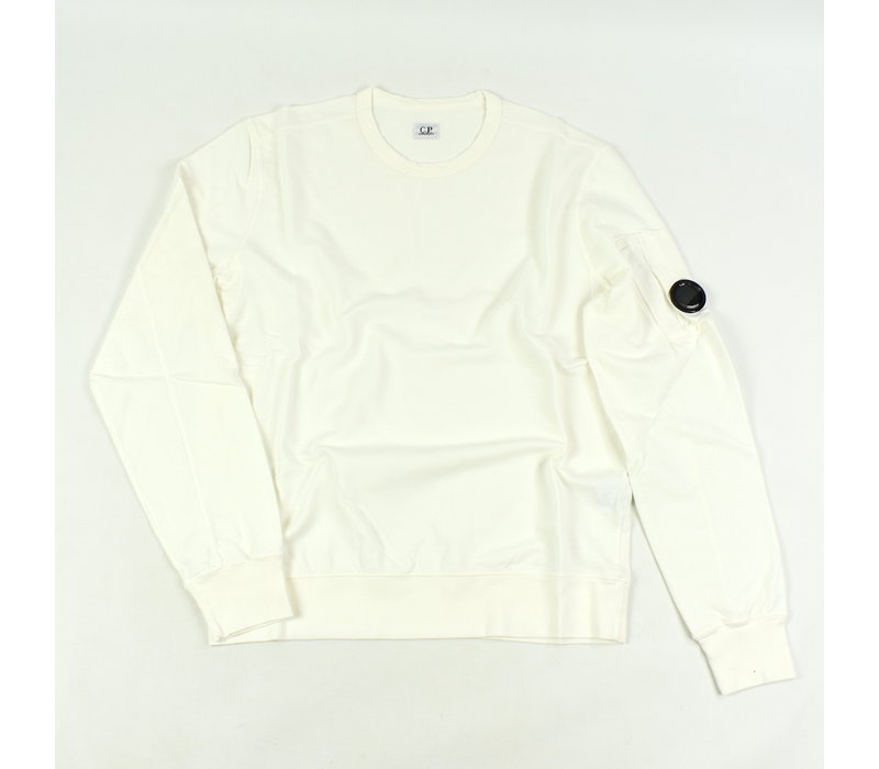 C.P. Company garment dyed light fleece lens crew sweatshirt White