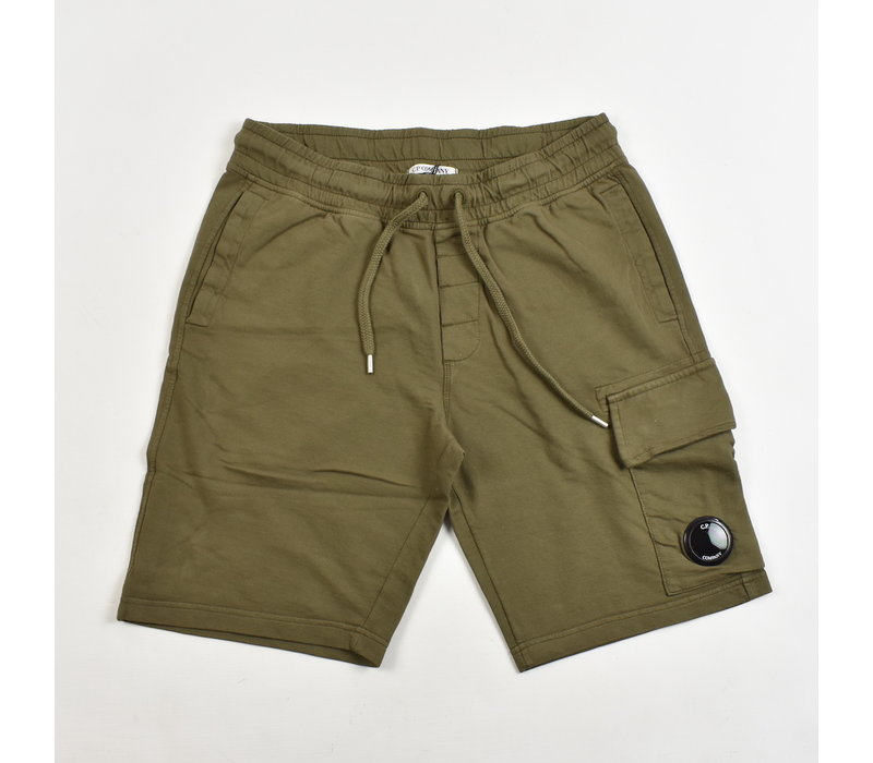 C.P. Company garment dyed light fleece lens pocket sweatshort Beech green