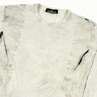 Stone Island shadow project white dust colour treatment cotton crew neck sweatshirt XL