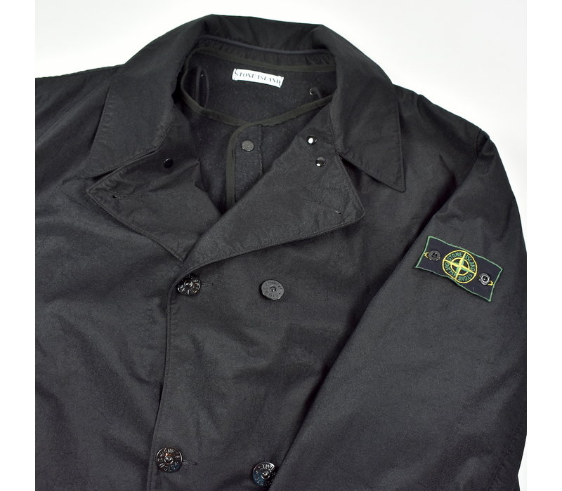 Stone Island black nylam lined trench coat XXL