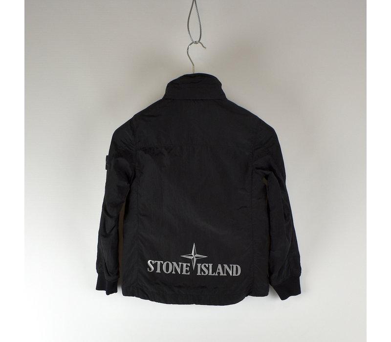 Stone Island junior black reflective logo overshirt jacket age 8