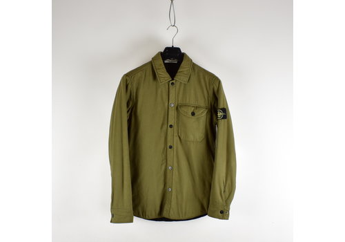 Stone Island Stone Island green quilted lined cotton overshirt jacket M