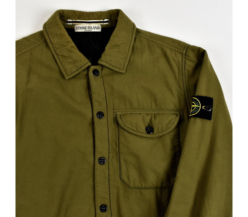 Stone Island green quilted lined cotton overshirt jacket M