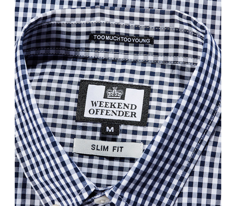 Weekend Offender Gingham check long sleeve shirt Navy/White
