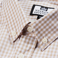 Weekend Offender Gingham check long sleeve shirt Stone/White