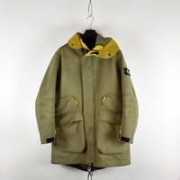 Stone Island yellow brown man made suede parka L