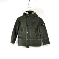 Stone Island junior green hand painted sheepskin parka age 10