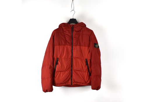 Stone Island Stone Island red nylon canvas gd crinkle reps down jacket L