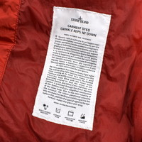 Stone Island red nylon canvas gd crinkle reps down jacket L