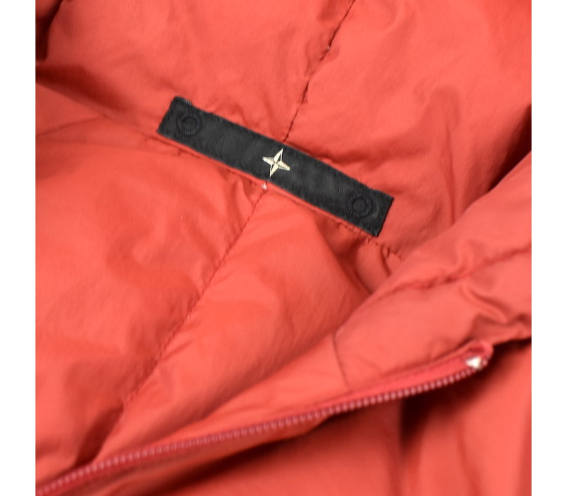 Stone Island denims red lightweight nylon down hooded jacket L