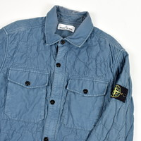 Stone Island blue tortoise shell quilted cotton overshirt jacket M