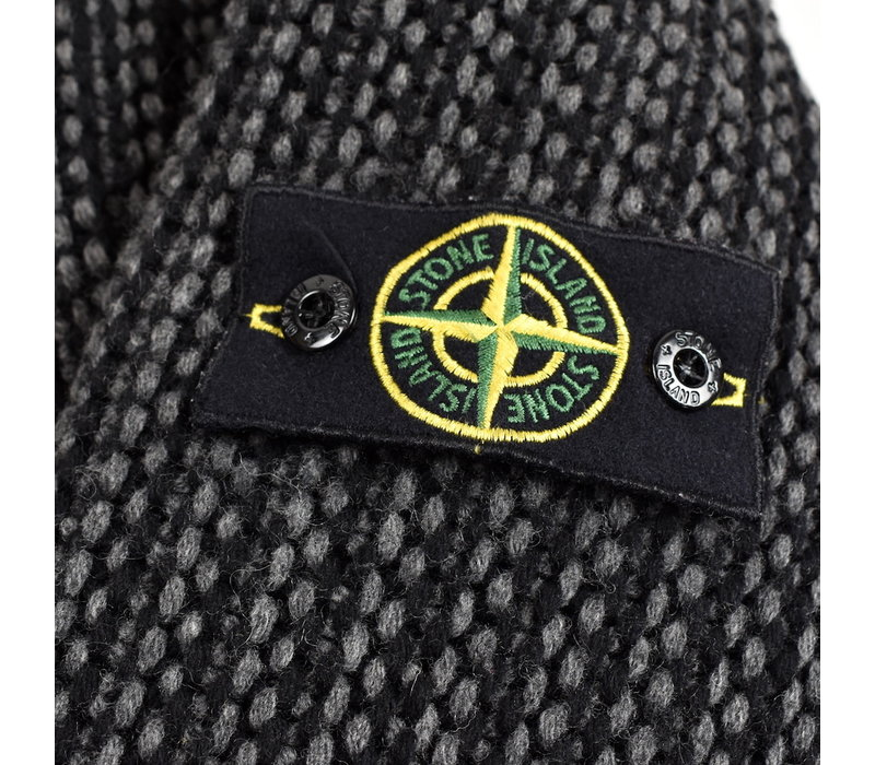 Stone Island grey wool goose down lined presidents knit L