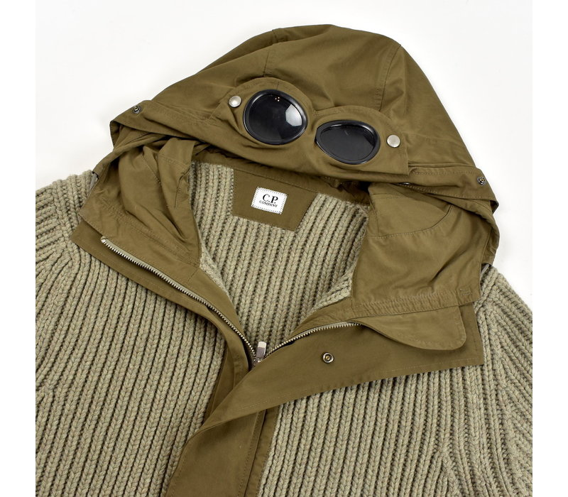 C.P. Company grey knit wool goggle jacket 54