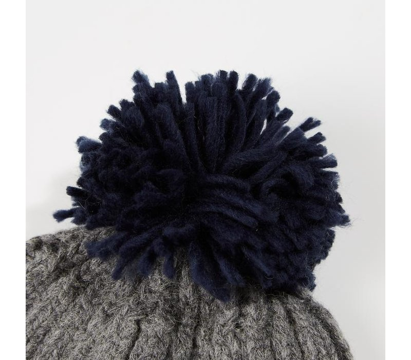 Weekend Offender Gerdai knit bobble hat Steel Grey