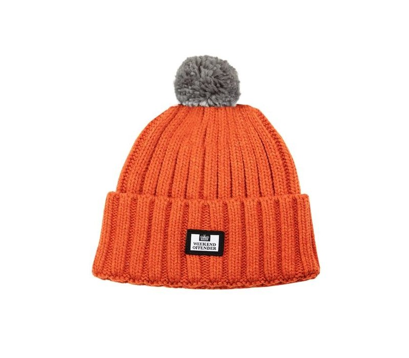 Weekend Offender Gerdai knit bobble hat Burnt Orange