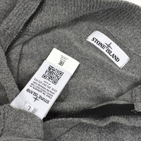 Stone Island grey cotton knit quarter zip sweatshirt L
