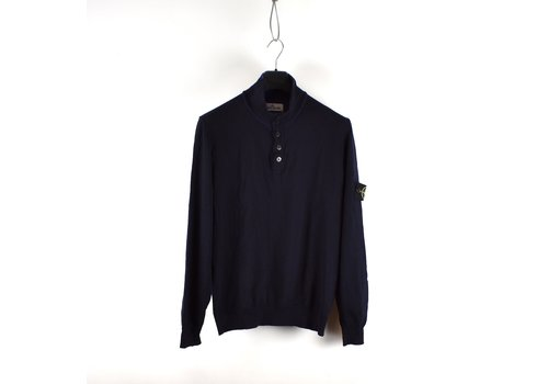 Stone Island Stone Island navy wool knit quarter neck sweatshirt XL