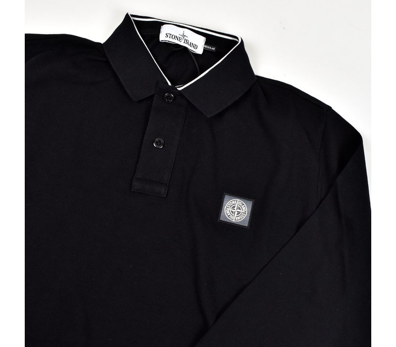 Stone Island black cotton pique long sleeve patch program polo shirt S