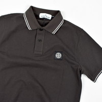 Stone Island brown cotton pique short sleeve patch program polo shirt S