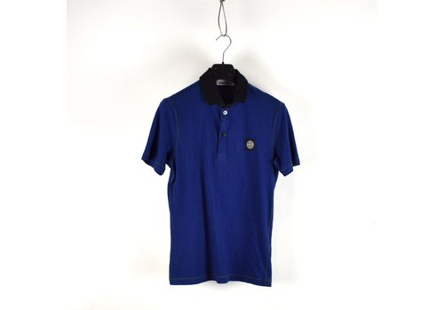 Stone Island Stone Island blue cotton short sleeve patch program polo shirt S