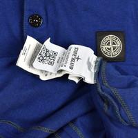 Stone Island blue cotton short sleeve patch program polo shirt S