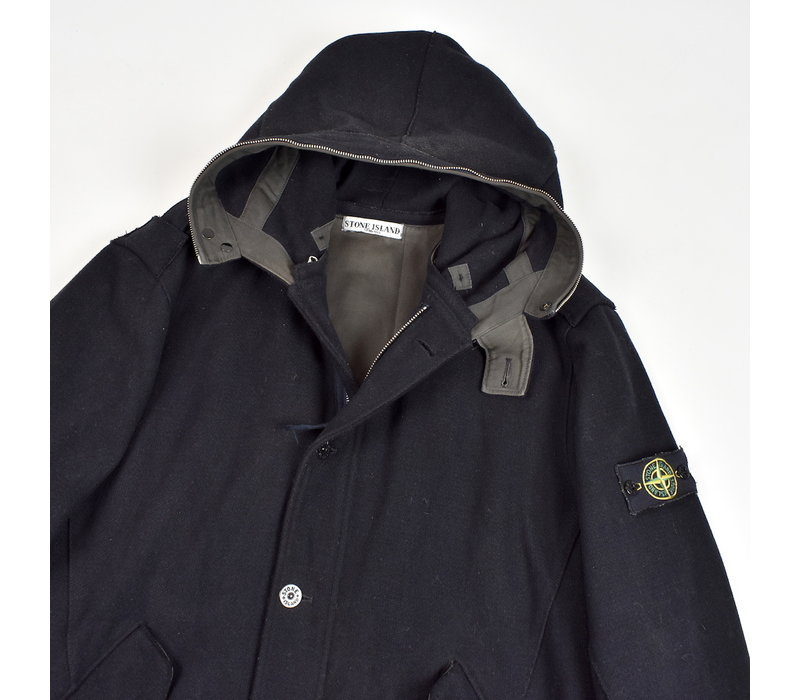 Stone Island black wool zipped duffle coat XXL