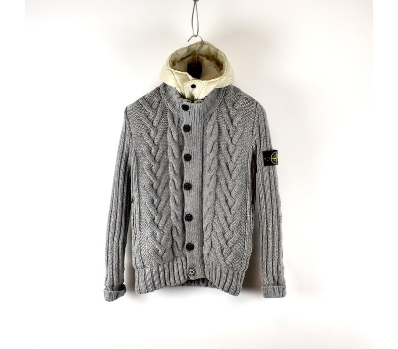 Stone Island grey wool windstopper presidents knit with goose down hood M