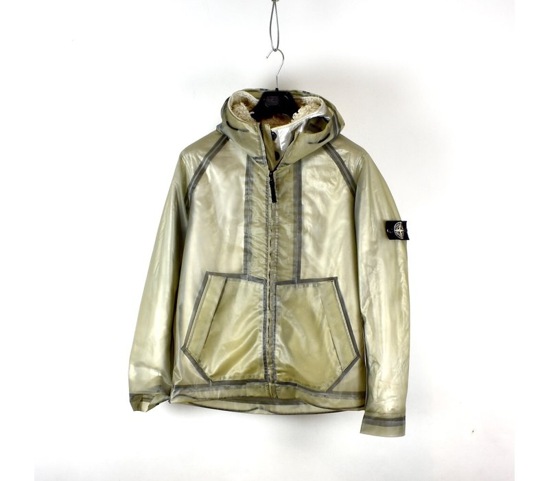 Stone Island poly cover composite jacket with poly fur silver lining M