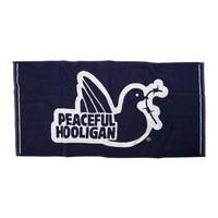 Peaceful Hooligan Dove logo beach towel Navy