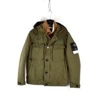 Stone Island green david-tc with sheepskin detachable liner S