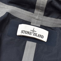 Stone Island navy water repellent supima cotton trench coat L