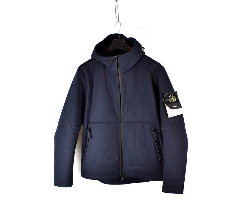 Stone Island navy panno-r 4l stretch hooded jacket XL