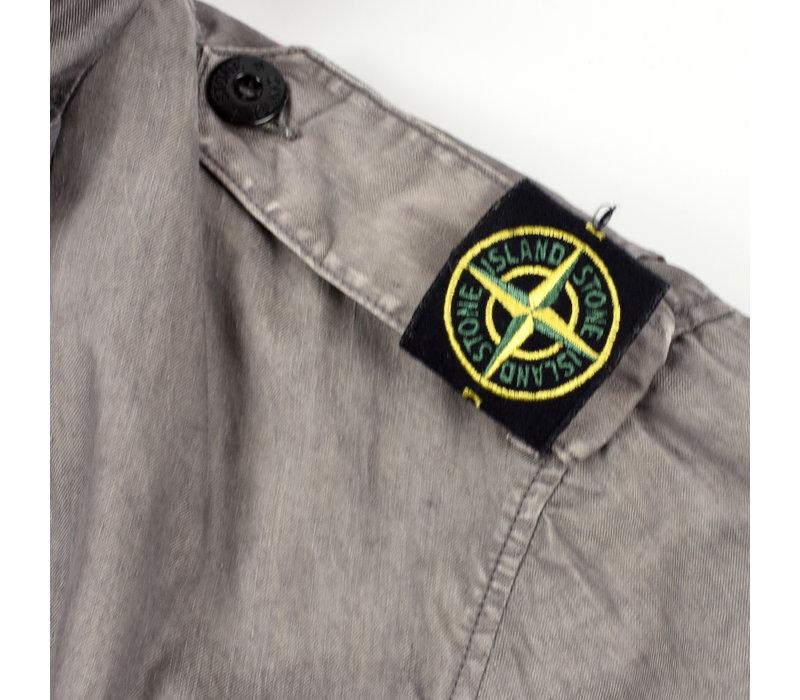 Stone Island grey linoflax shoulder badge field jacket XXL