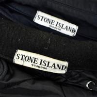 Stone Island navy raso gommato shoulder badge trench coat XXL