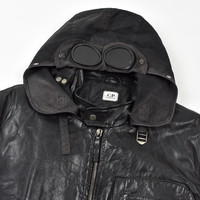 C.P. Company black quilted lined leather mille miglia goggle jacket 52