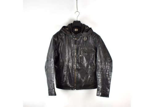 C.P. Company C.P. Company black quilted lined leather mille miglia goggle jacket 52