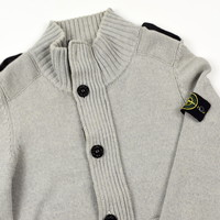 Stone Island grey full zip wool knit cardigan L