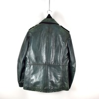Stone Island green double breasted shoulder badge leather jacket XL
