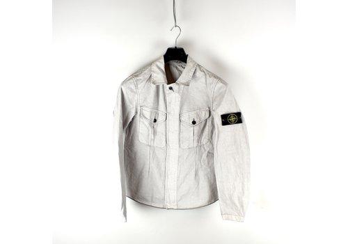 Stone Island Stone Island grey spalmatura coated cotton overshirt jacket M