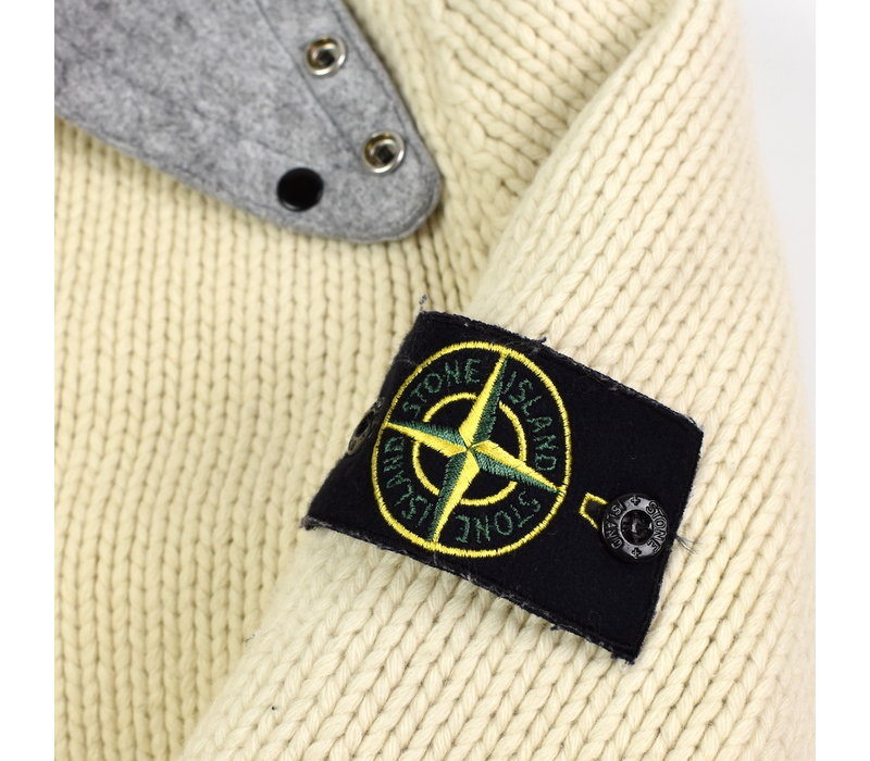 Stone Island ivory wool felt lined presidents knit XL
