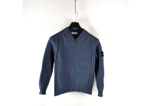 Stone Island Stone Island blue heavy wool v-neck knit M